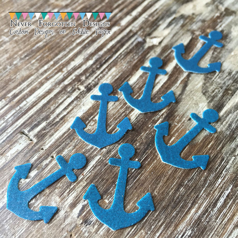"Blue Edible 1"" Anchors on Edible Frosting Paper - Never Forgotten Designs"