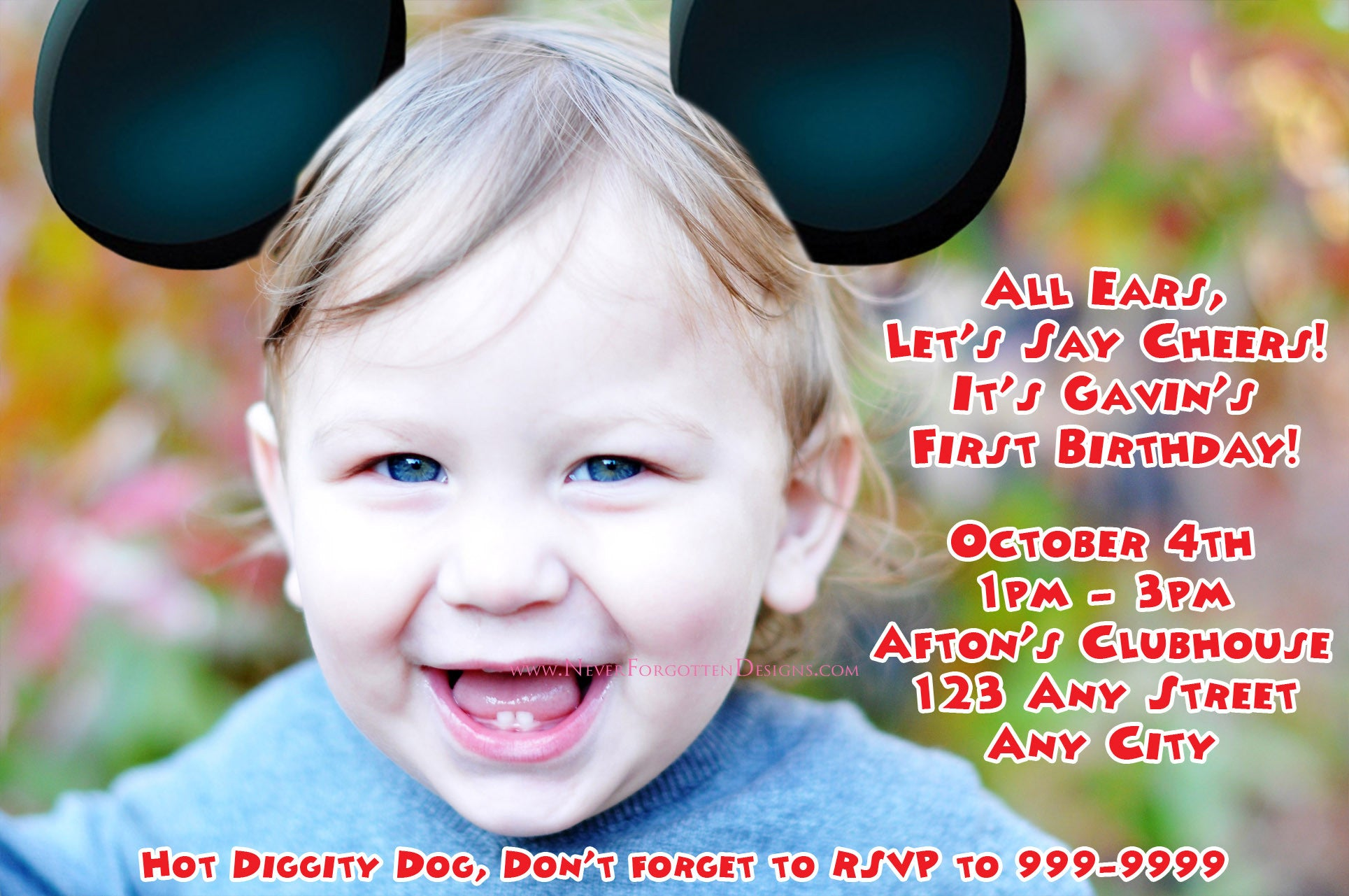 Mouse Ears Birthday Photo Invitation Design - Never Forgotten Designs