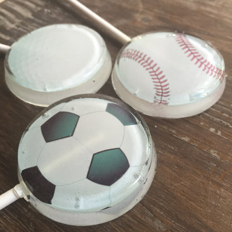 Soccer Baseball and Golf Ball Party Favor Lollipop Suckers