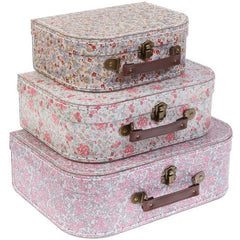 Vintage Flower Nesting Suitcase Set