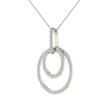 Entwined Circles Dangling Diamond Pendant in 14K Gold (G,SI) - White Gold
