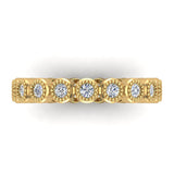 0.60 cttw Bezel Set Milgrain outline Diamond Stackable Band 14k Gold (I,I1) - Yellow Gold