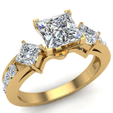 1.15 ct tw Princess Cut Center Diamond Engagement Ring 14K Gold (G,SI) - Yellow Gold