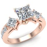 1.15 ct tw Princess Cut Center Diamond Engagement Ring 14K Gold (G,SI) - Rose Gold