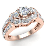 Three Stone Split Shank Wide look  Anniversary Engagement Ring 18K Gold (G,VS) - Rose Gold