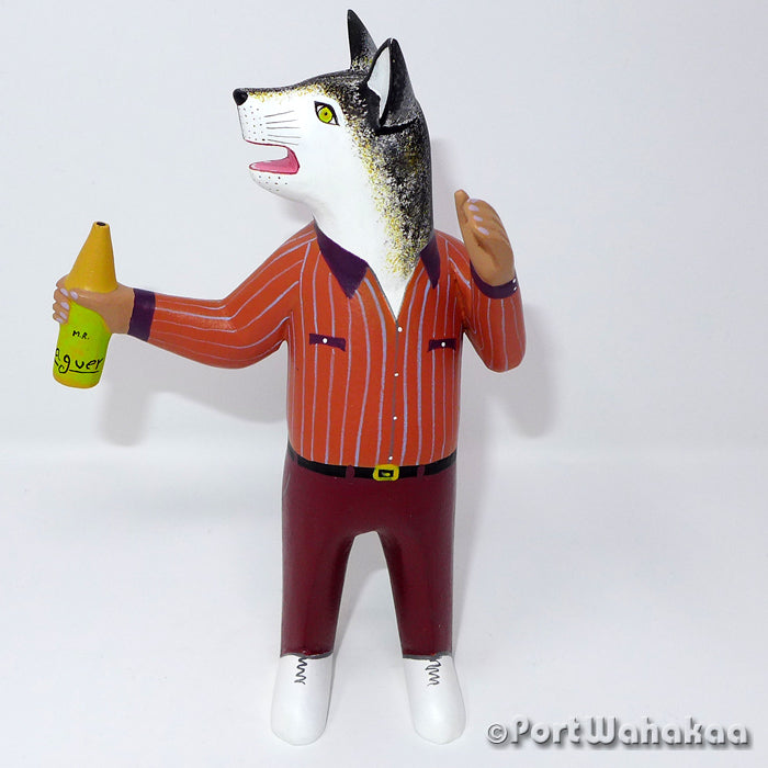 Casual Wolf Man - Oaxaca Wood Carving Alebrijes Animal Mexican Copal