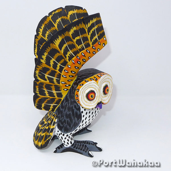 Spectacled Owl - Oaxaca Wood Carving Alebrijes Animal Mexican Copal