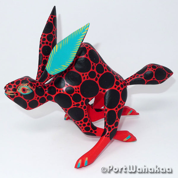 Sprinting Red Rabbit - Oaxaca Wood Carving Alebrijes Animal Mexican Copal