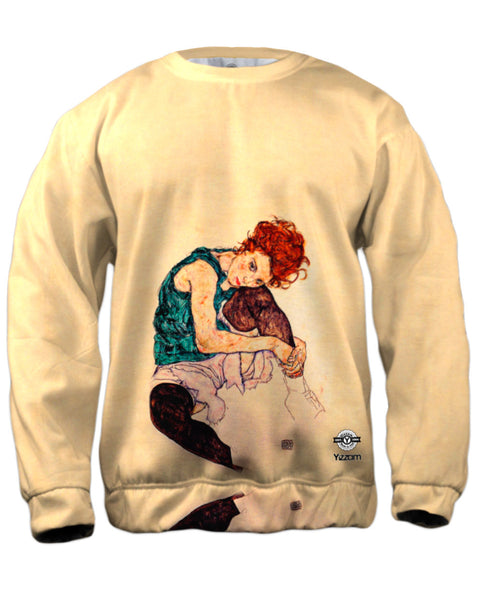"Egon Schiele - ""Seated Woman with Bent Knee"" (1917) Mens Sweatshirt"