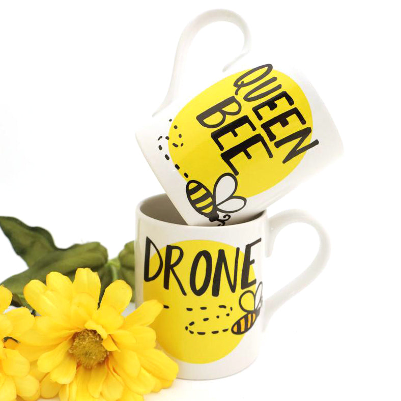 This mug set is sure to cause a buzz. One mug reads QUEEN BEE on the front, the other reads DRONE.