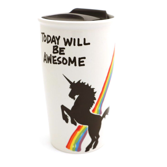 Unicorn travel mug - Today will be awesome. Make today magical by enjoying your coffee or tea from