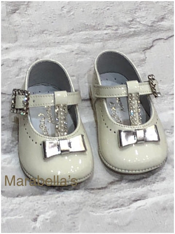 Pretty Original Baby Girl's Cream And Silver Pram Shoes