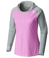 Coastal Waters Women's Hooded Raglan Long Sleeve Sun Protection-UPF 50 - Pink & Gray