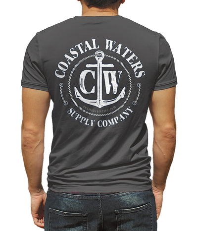 Classic Anchor Coastal Waters Pocket Tee Charcoal