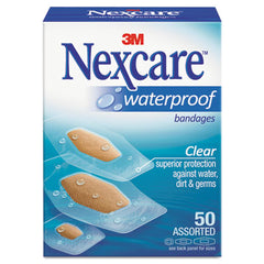 3M Nexcare™ Waterproof Bandages, Clear Bandages, Assorted Sizes, 50/Box