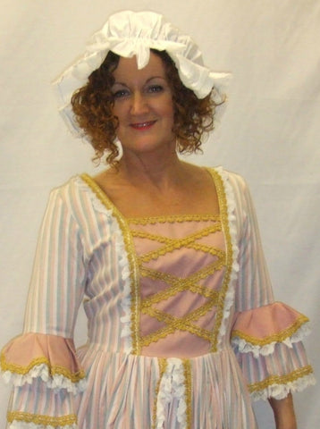 18th Century  Gown ~ Milk Maid  ~ Candy stripe ~  Hire ~ Size 12 and 14 ~ Pompadour
