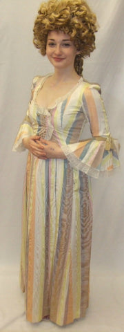 18th Century  Gown ~ Milk Maid  ~ Candy stripe ~  Hire ~ Size 6 ~ Pompadour