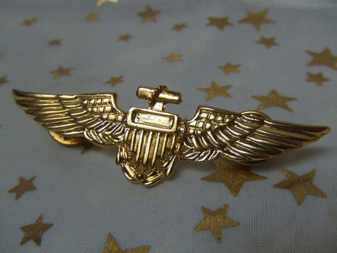 Aviator Gold Metal Brooch ~ Pin ~ Pilot Wings ~ 1980s NEW