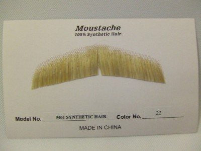 Hand Made Moustache ~ M61 ~ 22 ~ Champagne Blonde ~ Human hair