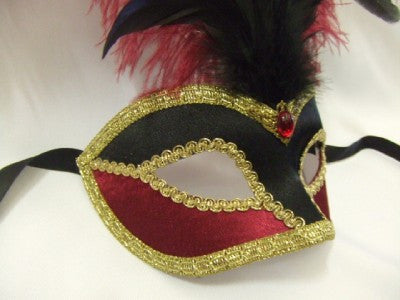#809VNR/BD ~ Black and Burgundy Feather Venetian Mask Masquerade Ball 18th century fancy dress