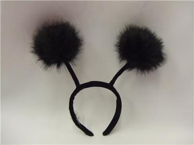 Bendy Bug Pompom Antennae Headband Black Insect Bug Alien