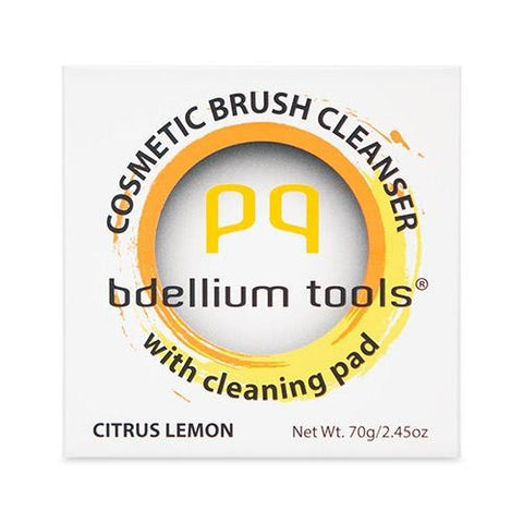 Bdellium Tools Cosmetic Brush Cleanser (Solid Brush Soap) with Cleaning Pad - Citrus Lemon Scent (Yellow)' …