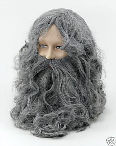 Grey Wizard wig and Beard Set ~ Halloween