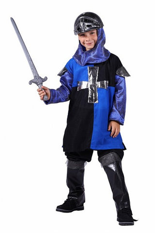 Medieval Knight Costume Blue and Black 116 cm - 128 cm Age 7 - 8  St George Arthur