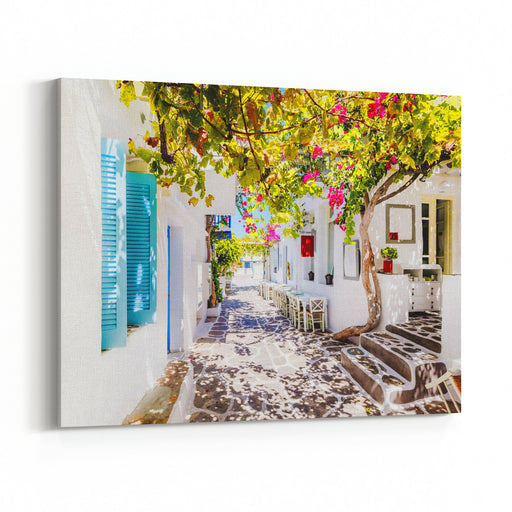 Beautiful Street On Paros Island, Greece Canvas Wall Art Print