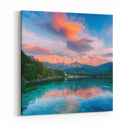 Fantastic Sundown On Mountain Lake Eibsee, Located In The Bavaria, Germany Dramatic Unusual Scene Alps, Europe Landscape Photography Canvas Wall Art Print