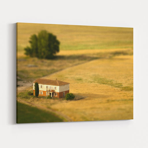 A Tilt Shifted Country House On A Cereal Field Canvas Wall Art Print