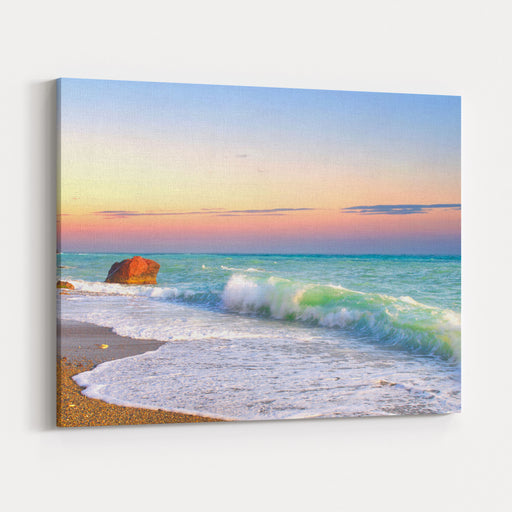 Waves And Sky During Sunset Canvas Wall Art Print