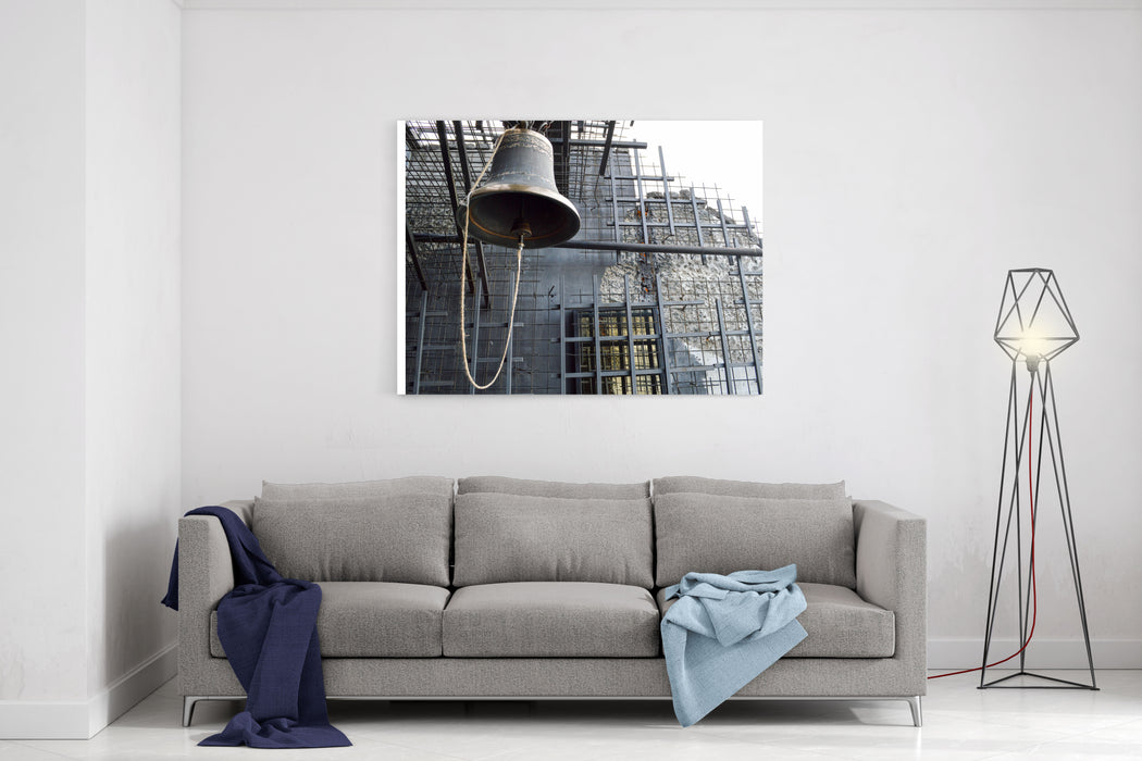 A Large Iron Metal Bell On A Church Church Is An Old Ancient Religious Christian Canvas Wall Art Print