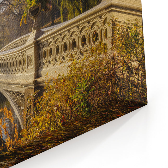 The Bow Bridge  Is A Cast Iron Bridge Located In Central Park, New York City, Crossing Over The Lake And Used As A Pedestrian Walkway Canvas Wall Art Print