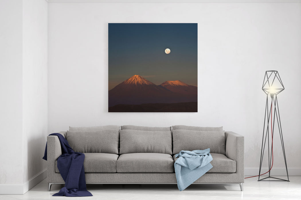 Fullmoon In The Moon Valley Volcanoes Licancabur And Juriques, West Of San Pedro, Cordillera De La Sal, In The Atacama Desert Of Chile Canvas Wall Art Print