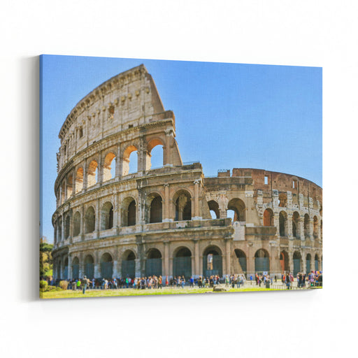Roman Colosseum Architecture Landmark In A Tilt Shift Photography Rome, Italy Canvas Wall Art Print