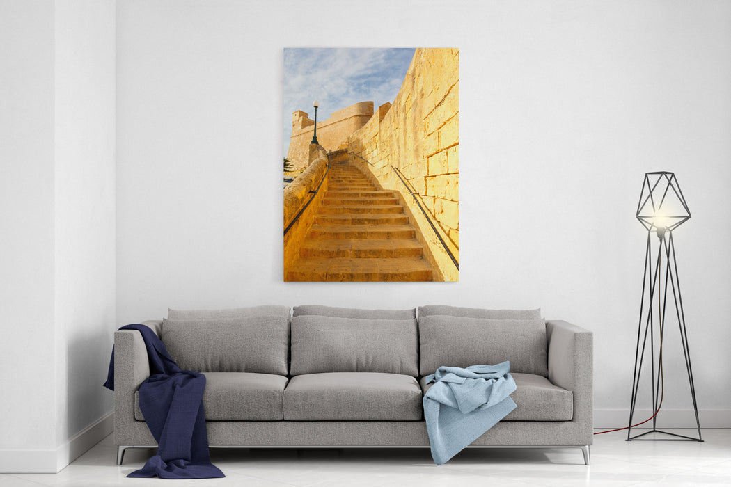 Ancient Stairs In The Castle Rabat Victoria Fortress Gozo, Maltese Islands Canvas Wall Art Print