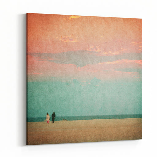 Beautiful Beaches Of The Evening  Picture In Retro Style Canvas Wall Art Print