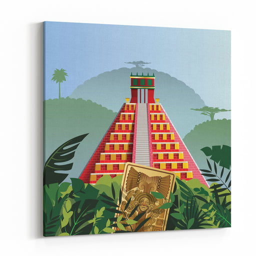 Acient Mayan Pyramid Canvas Wall Art Print