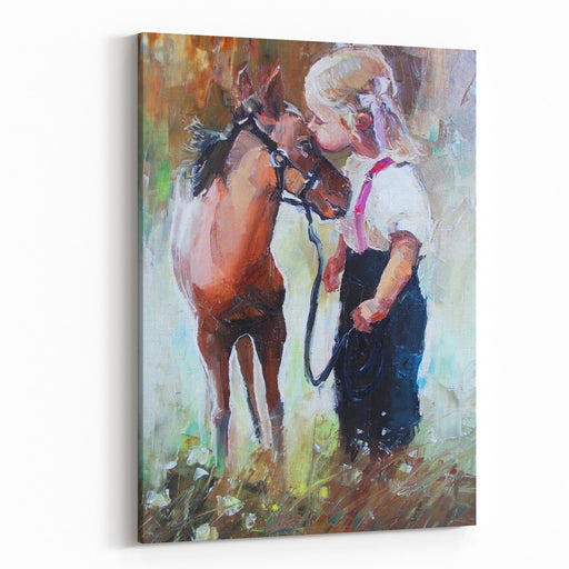 Oil Painting Of Little Girl Petting Her Best Friend Pony At CountrysideOutdoors Canvas Wall Art Print