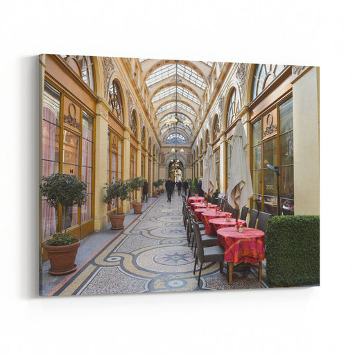 France, Paris, Interior Of Famous Terrace Cafe At Galerie Vivienne Canvas Wall Art Print