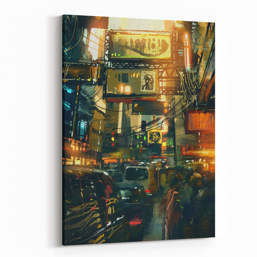 Colorful Painting Of Shopping Street In Modern City,illustration Canvas Wall Art Print