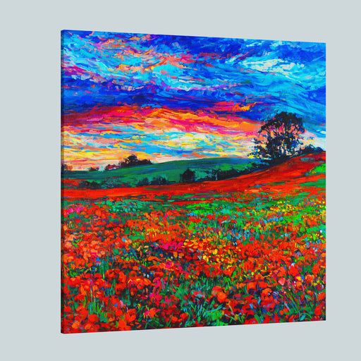 Original Oil Painting Of Opium Poppy Field In Front Of Beautiful Sunset On CanvasModern Impressionism By NIkolov Canvas Wall Art Print