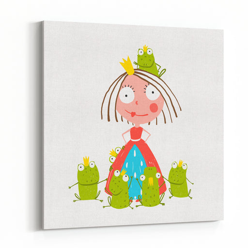 Princess And Many Prince Frogs Portrait Colored Drawing Colorful Fun Childish Hand Drawn Illustration For Kids Fairy Tale Canvas Wall Art Print