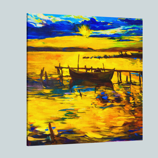 Oil Painting On Canvasfishing Boatmodern Impressionism By Nikolov Canvas Wall Art Print