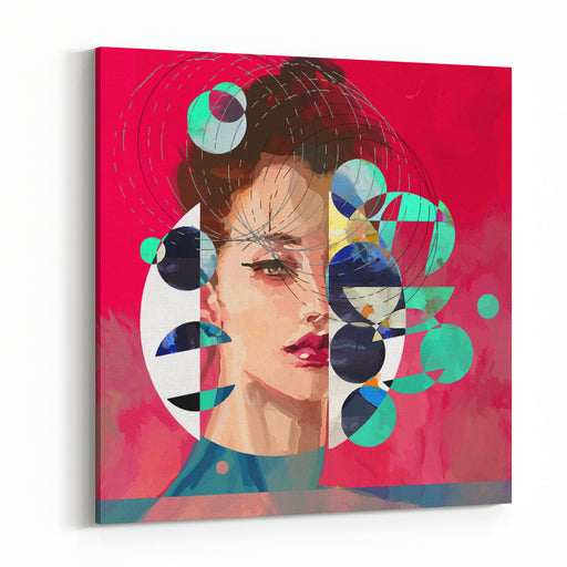 Modern Style Portrait Of A Lady With Red Background And Circles Canvas Wall Art Print