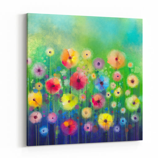 Abstract Floral Watercolor Painting Hand Paint Yellow And Red Flowers InSoft Color On Green Color BackgroundSpring Flower Seasonal NatureBackground Canvas Wall Art Print