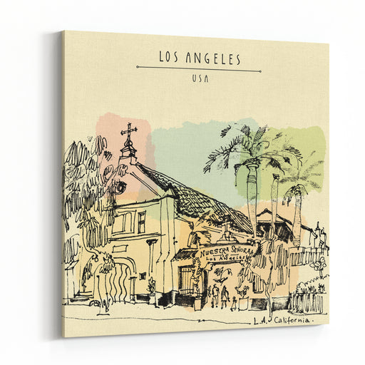 A Church In LA, California Vintage Hand Drawn Postcard Or Poster In Vector Canvas Wall Art Print