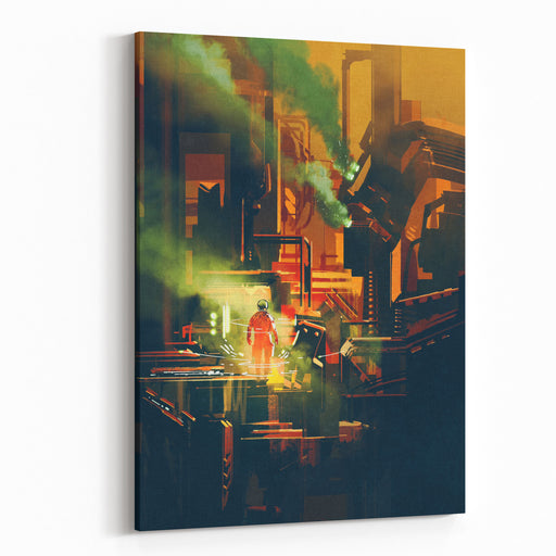 Scifi Scene Showing Red Astronaut Standing On Futuristic Architecture,illustration Canvas Wall Art Print