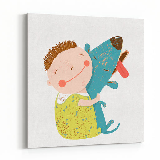 Little Boy With A Dog Hugging Child Happiness With Friend Animal, Vector Illustration Canvas Wall Art Print
